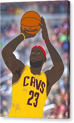 Basketball Collection Canvas Print - Cleveland Cavaliers - Lebron James - 2014 by Troy Arthur Graphics