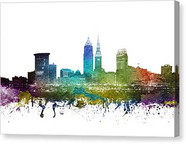 Cleveland Cityscape 01 Canvas Print by Aged Pixel