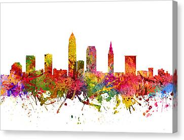 Cleveland Cityscape 08 Canvas Print by Aged Pixel