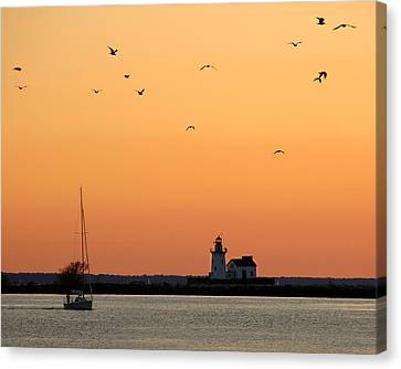 Cleveland Harbor Sunset Canvas Print by Jon Holiday