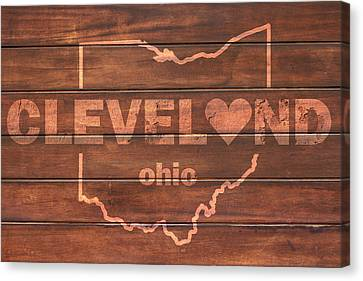 Cleveland Heart Wording With Ohio State Outline Painted On Wood Planks Canvas Print by Design Turnpike