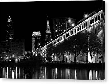 Cleveland In Black And White Canvas Print by Ann Bridges