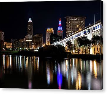 Canvas Print featuring the photograph Cleveland In The World Series 2016 by Dale Kincaid