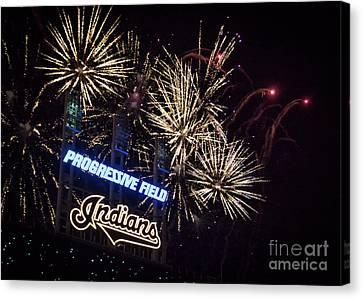 Cleveland Indians Baseball Fireworks Canvas Print