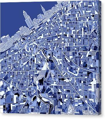Cleveland Map Blue Canvas Print