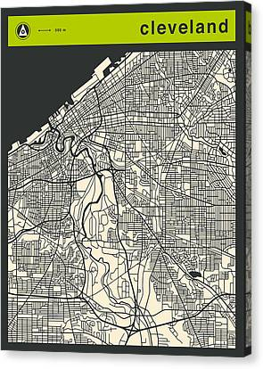 Cleveland Street Map Canvas Print by Jazzberry Blue