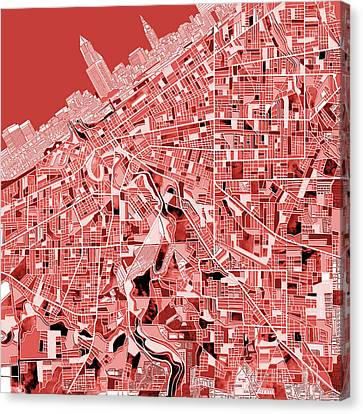 Cleveland Map Red Canvas Print
