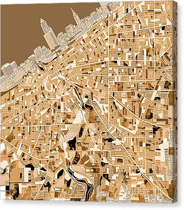 Cleveland Map Sepia Canvas Print