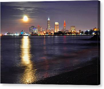 Cleveland Moonrise Reflection Canvas Print