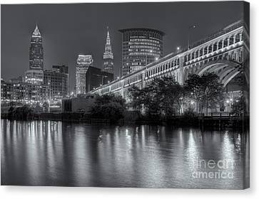 Cleveland Night Skyline IIi Canvas Print by Clarence Holmes
