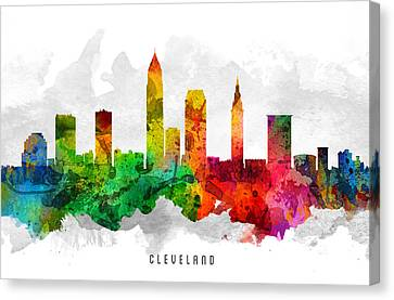 Cleveland Ohio Cityscape 12 Canvas Print by Aged Pixel
