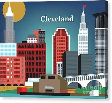 Terminal Canvas Print - Cleveland Ohio Horizontal Skyline by Karen Young