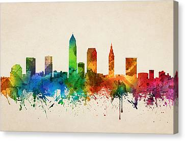 Cleveland Ohio Skyline 05 Canvas Print by Aged Pixel