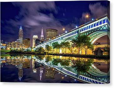 Canvas Print featuring the photograph Cleveland Skyline 4 by Emmanuel Panagiotakis