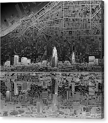 Cleveland Skyline Abstract 3 Canvas Print