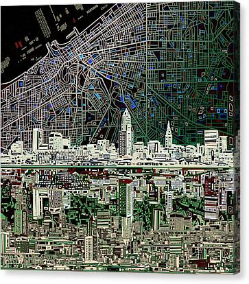 Cleveland Skyline Abstract 4 Canvas Print