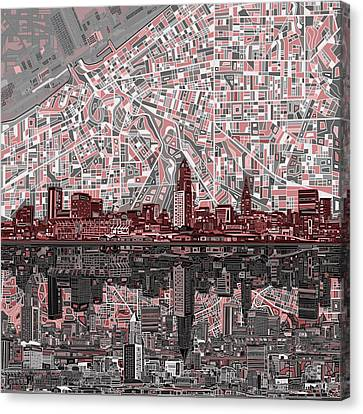 Cleveland Skyline Abstract 5 Canvas Print