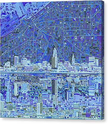 Cleveland Skyline Abstract 9 Canvas Print