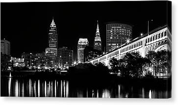 White Canvas Print - Cleveland Skyline by Dale Kincaid