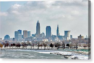 Cleveland Skyline In Winter Canvas Print by Bruce Patrick Smith