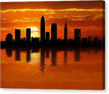 Cleveland Skyline Sunset Reflection Canvas Print by Dan Sproul