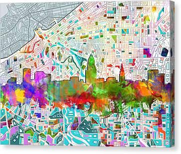 Cleveland Skyline Watercolor 2 Canvas Print