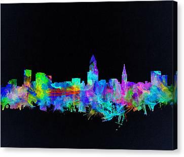 Cleveland Skyline Watercolor 3 Canvas Print