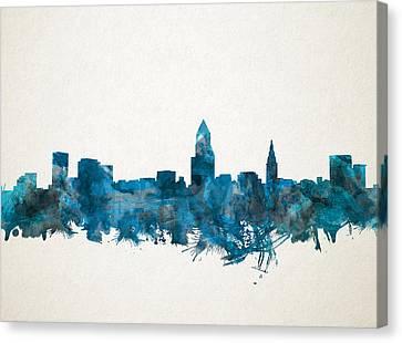 Cleveland Skyline Watercolor Blue Canvas Print