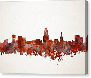 Cleveland Skyline Watercolor Red Canvas Print