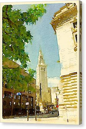 Cleveland Terminal Tower At Public Square Canvas Print by Janet Dodrill