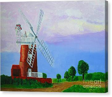 Canvas Print featuring the painting Cley Mill by Rodney Campbell
