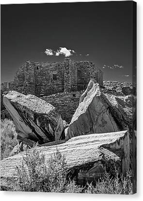 Cliff Wall With Pueblo Bonito Canvas Print by Joseph Smith