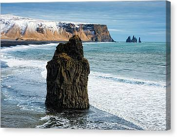 Canvas Print featuring the photograph Cliffs And Ocean In Iceland Reynisfjara by Matthias Hauser