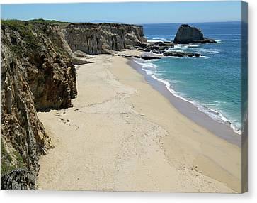 Cliffs At Panther Beach - Santa Cruz - California Canvas Print by Brendan Reals