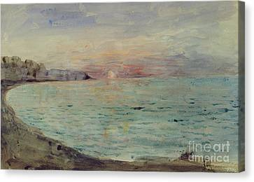 Cliffs Near Dieppe Canvas Print by Ferdinand Victor Eugene Delacroix