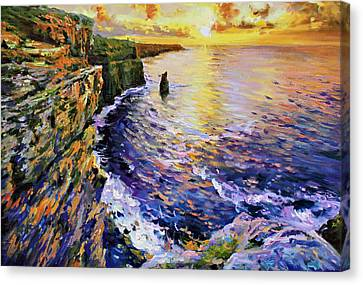 Setting Canvas Print - Cliffs Of Moher At Sunset by Conor McGuire