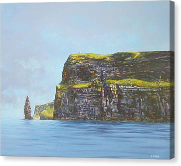 Cliffs Of Moher From The Sea Canvas Print by Eamon Doyle