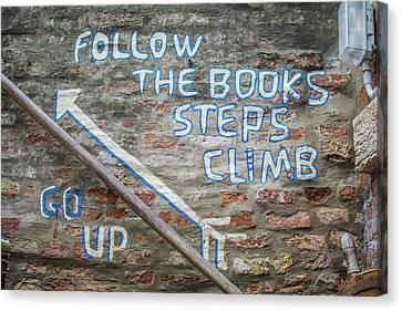 Climb The Books Canvas Print by Rainbeau Decker