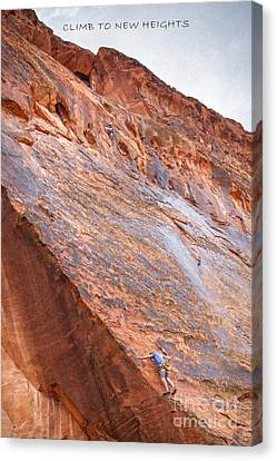 Climbing Canvas Print - Climb To New Heights by David Millenheft