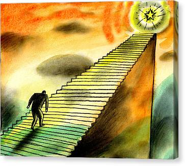 Climbing The Corporate Ladder Canvas Print by Leon Zernitsky