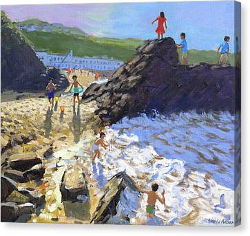 Climbing On The Rocks, St Ives Canvas Print by Andrew Macara