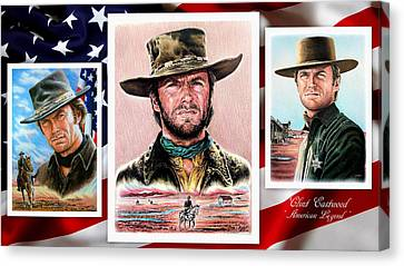 Clint Eastwood American Legend 2nd Ver Canvas Print by Andrew Read