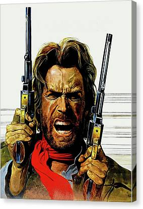 Canvas Print featuring the mixed media Clint Eastwood As Josey Wales by David Dehner