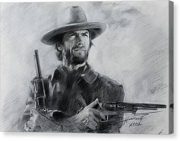 Canvas Print featuring the drawing Clint Eastwood by Viola El