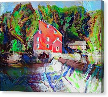 Grist Canvas Print - Clinton New Jersey -the Red Mill  On The Raritan River  Watercol by Bill Cannon