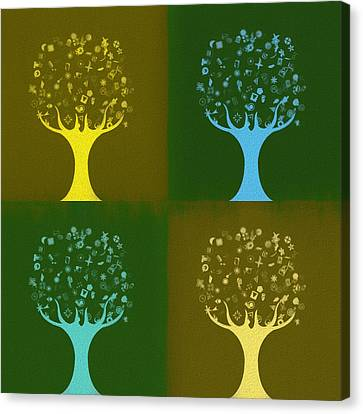 Canvas Print featuring the mixed media Clip Art Trees by Dan Sproul