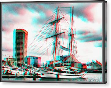 Clipper City - Use Red-cyan 3d Glasses Canvas Print by Brian Wallace