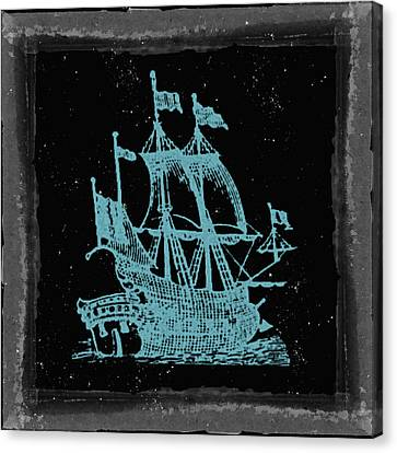 Blue Clipper Ship Starry Night Canvas Print by Brandi Fitzgerald