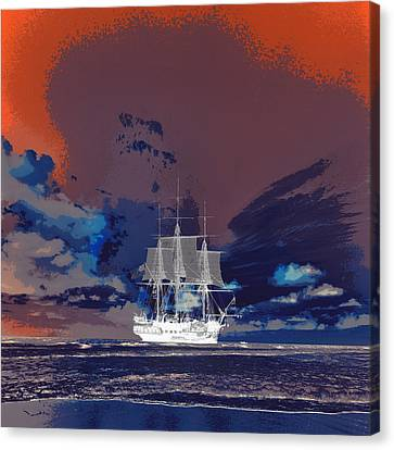 Clipper Ship Sunset Canvas Print by Brandi Fitzgerald