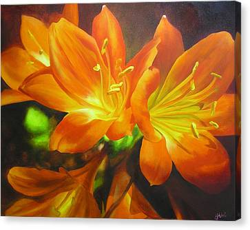 Canvas Print featuring the painting Clivias by Chris Hobel